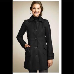 Tulle Big Button Black Coat, Size Large
